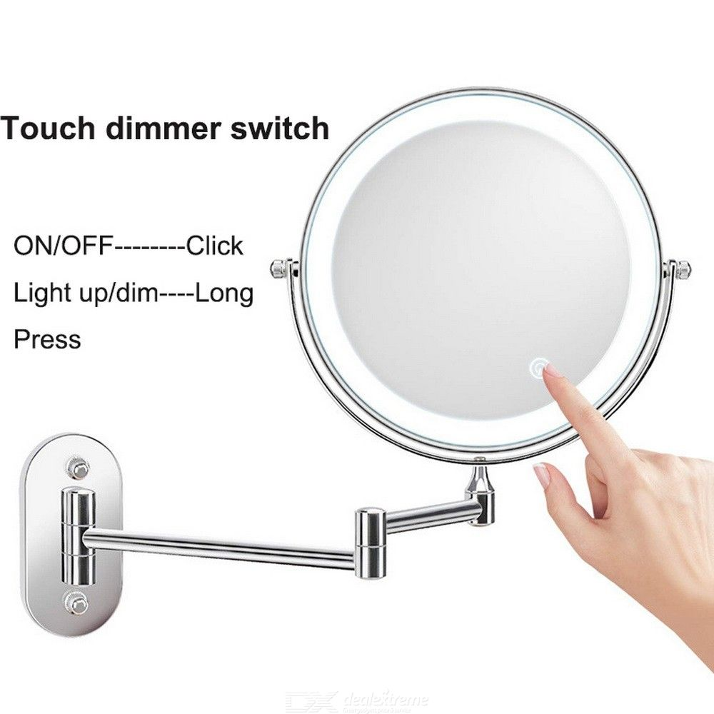 LED Wall Mount Makeup Mirror Lighted 10X Magnification Vanity Mirror