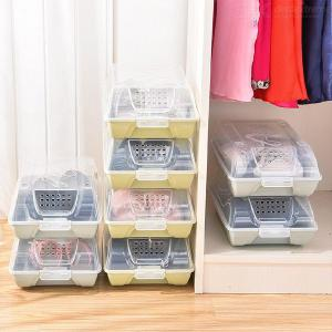 Shoe Storage Box Clear Stackable Plastic Shoe Storage Container With Lid Thickened Dust-Proof Air Permeable Shoe Box