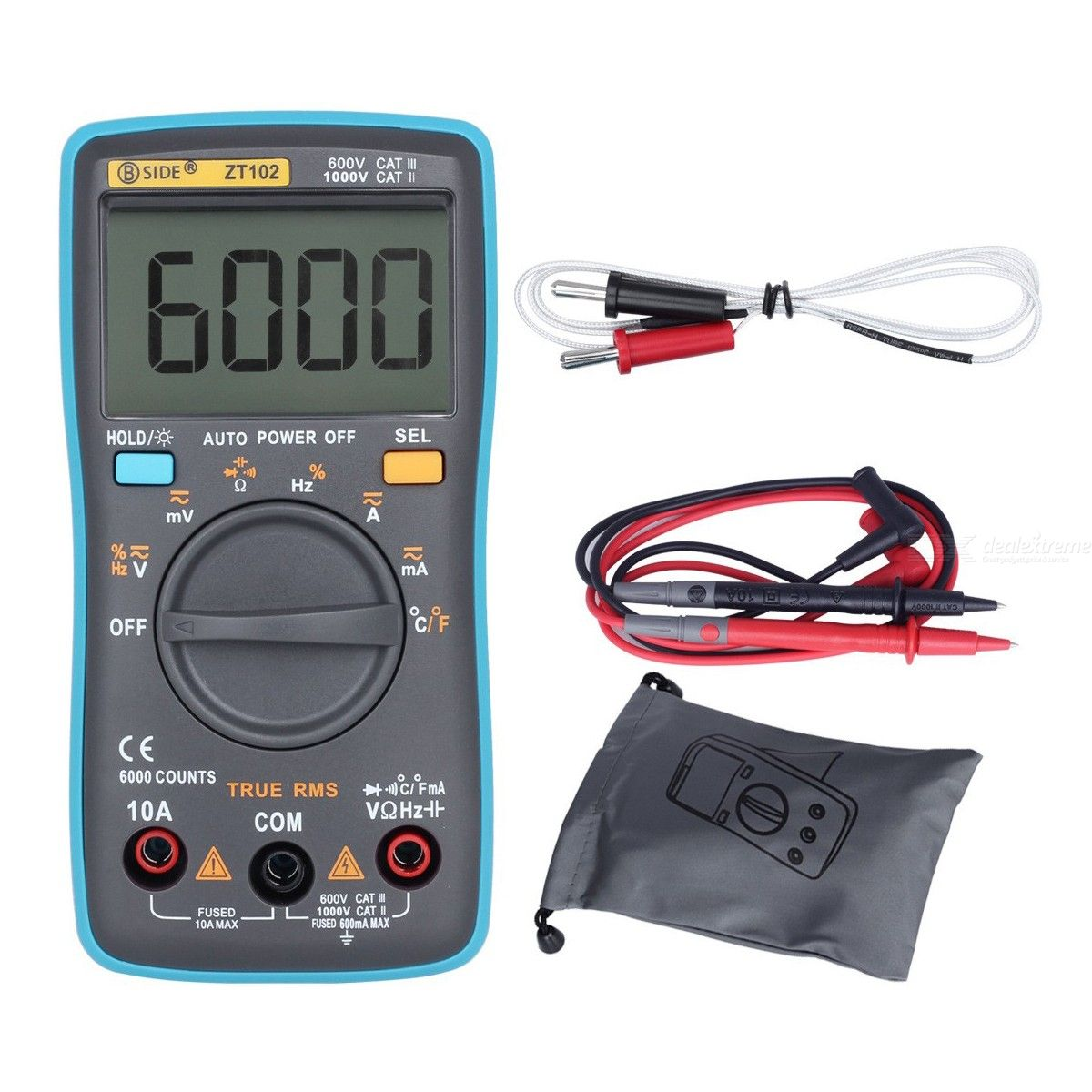 BSIDE ZT102 Ture RMS Digital Multimeter AC/DC Voltage Current Temperature Ohm Frequency Diode Resistance Capacitance Teste
