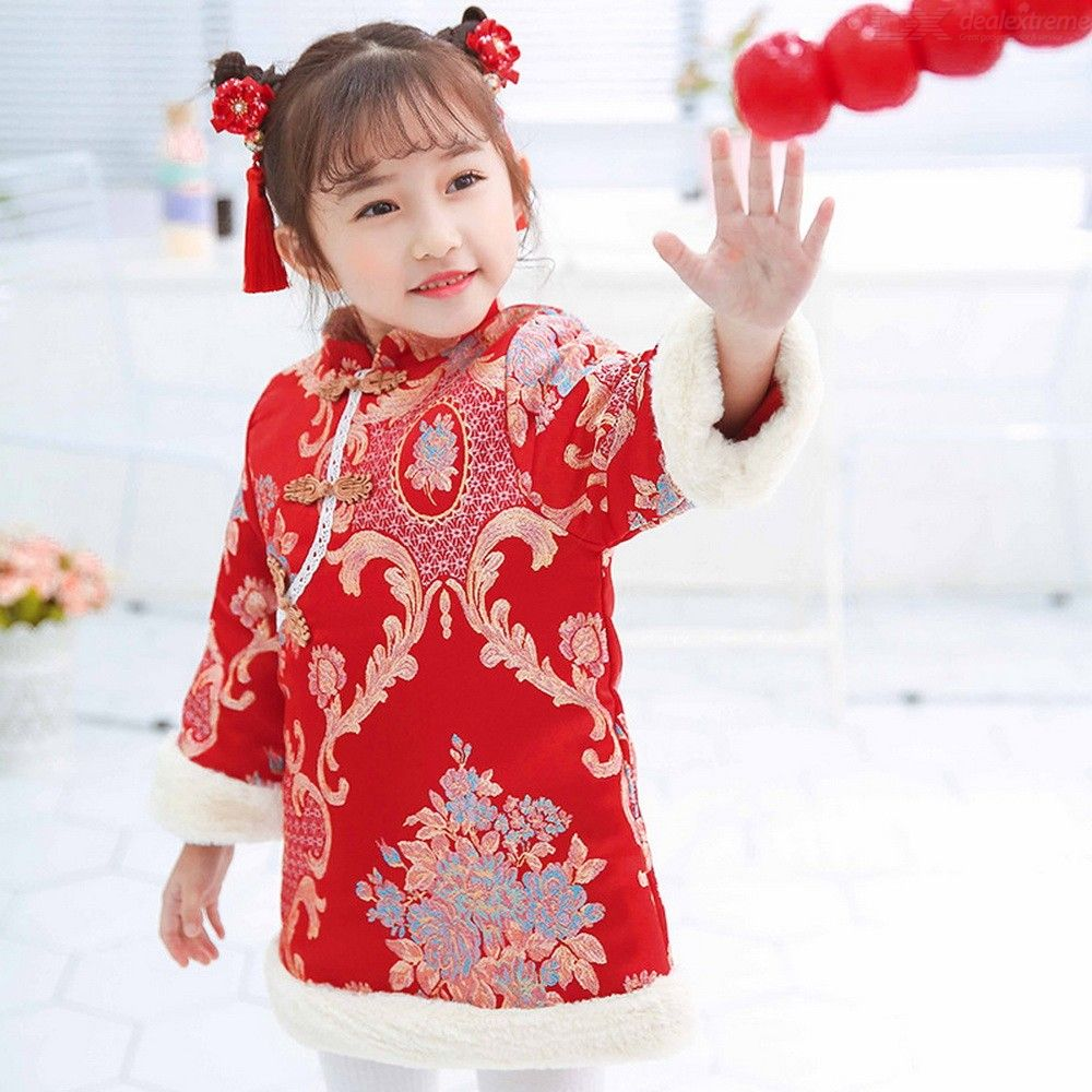 Chinese Style Cotton Floral Embroidery Cheongsam Dress Parka New Year Winter Clothes For Kid Girls