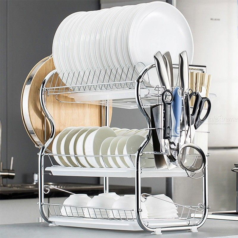 Multi-functional 3-Tier Dish Rack Kitchen Supplies Storage Rack Draining Rack with Cutting Board Holder Drainboard