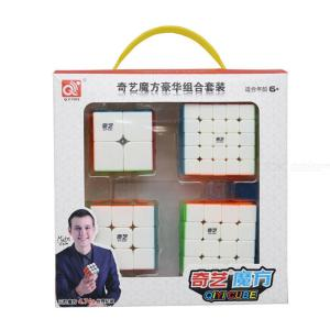 4Pcs QIYI Magic Cube Set Stickerless Speed Cube 2x2 3x3 4x4 5x5 Puzzle Cubo With Manual