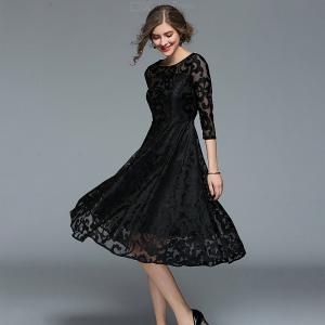 Womens Lace Dress Ankle Sleeve Hollow Out Dress