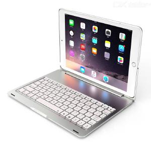 F102S Wireless 4.0 Bluetooth Keyboard Case for iPad 2019 10.2 Inch with Aluminum Body, 7 Colors Backlit, Smart On /Off Switch