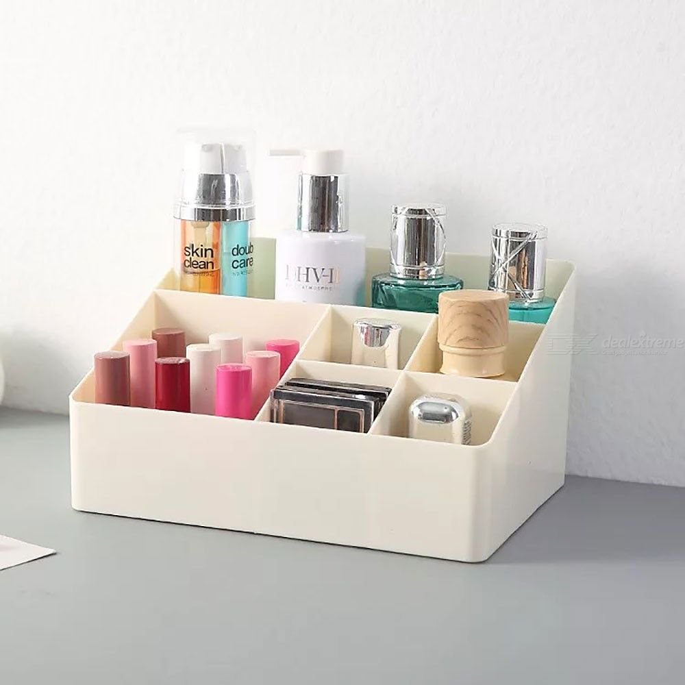 Cosmetic Storage Organizer Plastic PP Makeup Holder With 6 Compartments