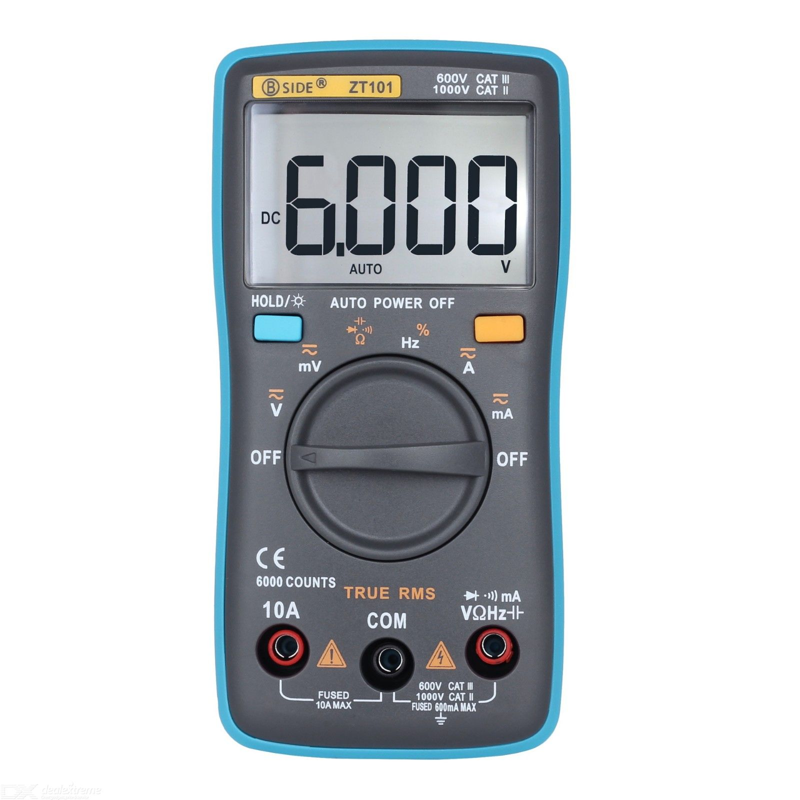 BSIDE  ZT101 Ture RMS Auto Digital Multimeter 6000 Counts Backlight AC/DC Current Voltage Ohm Tester Portable LCD Screen Meter