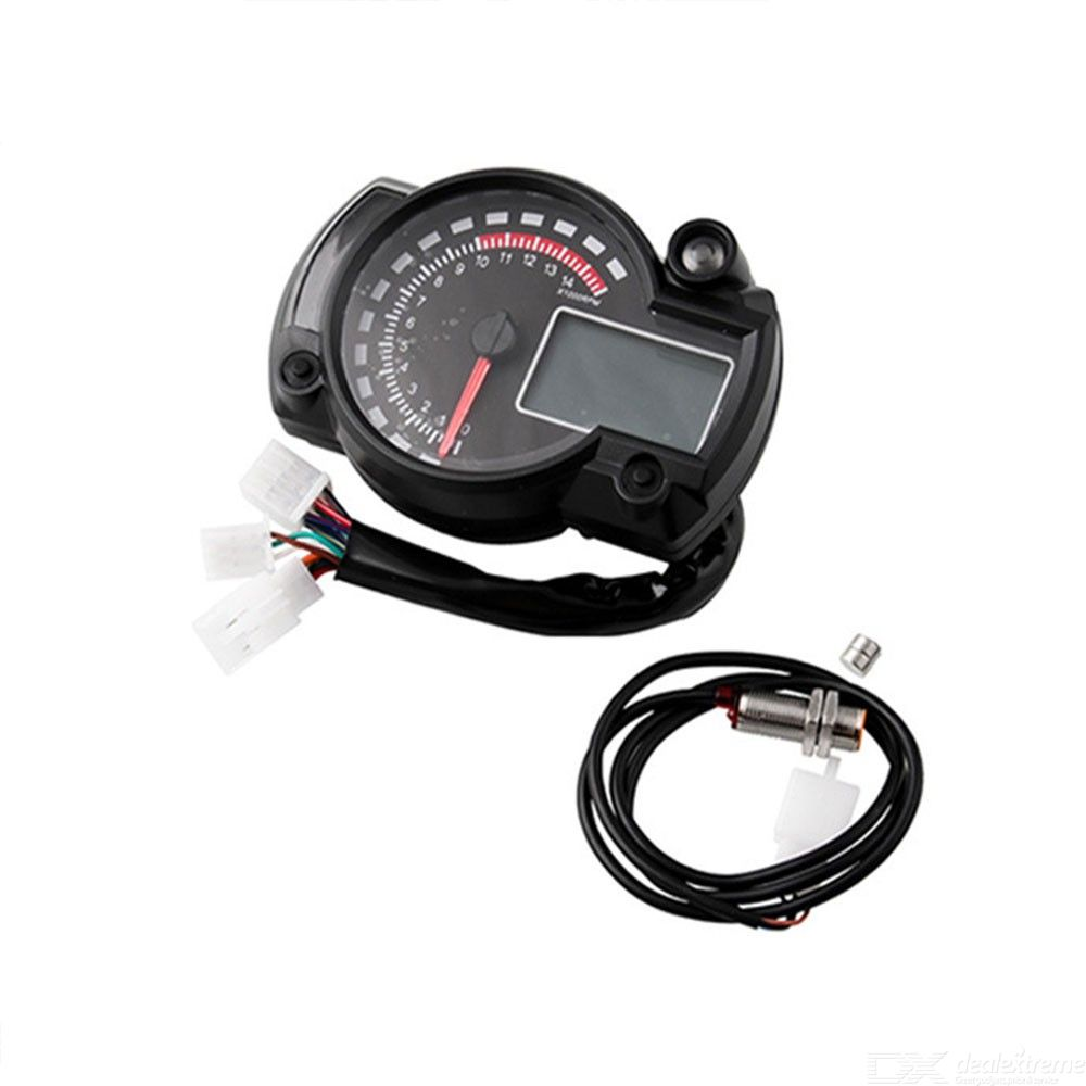 Universal Electronic Speedometer For Motorcycle Digital LED Backlit Mileage Meter - Black