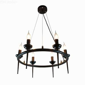 Modern Vintage Style E26 6-Head Iron Chandelier Ceiling Hanging Lamp For Living Room Coffee Shop Bar