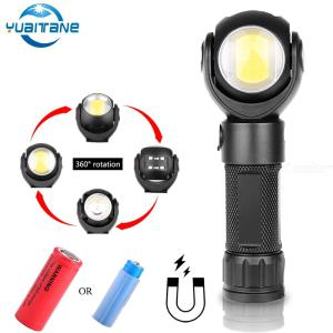 Outdoor Waterproof LED Flashlight 360 Degree Rotation T6+COB Magnet Torch
