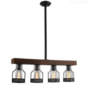 Modern Vintage Style E26 4-Head Wooden Chandelier Ceiling Hanging Lamp For Living Room / Dining Room / Restaurant