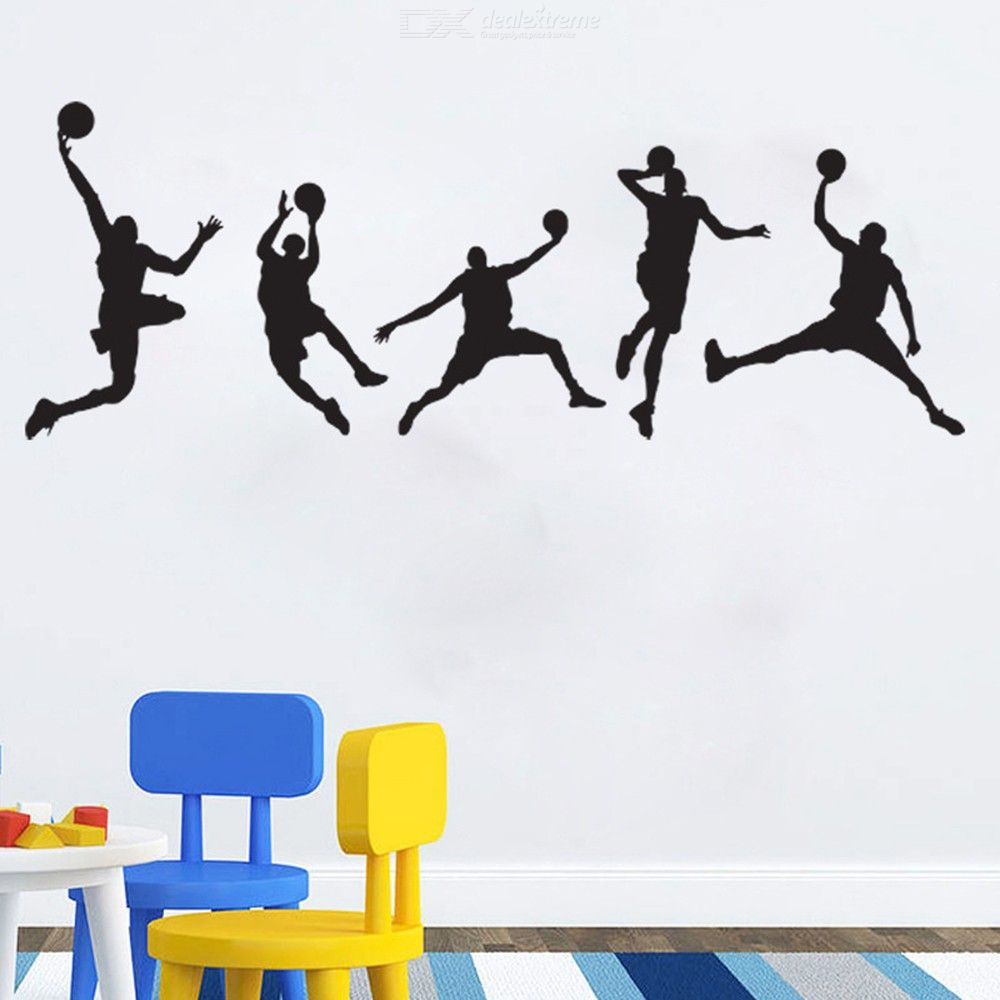 Basketball Player Silhouette Wall Art Stickers Decorative Removable Slam Dunk DIY Wall Decals For Kids Room Boys Bedroom