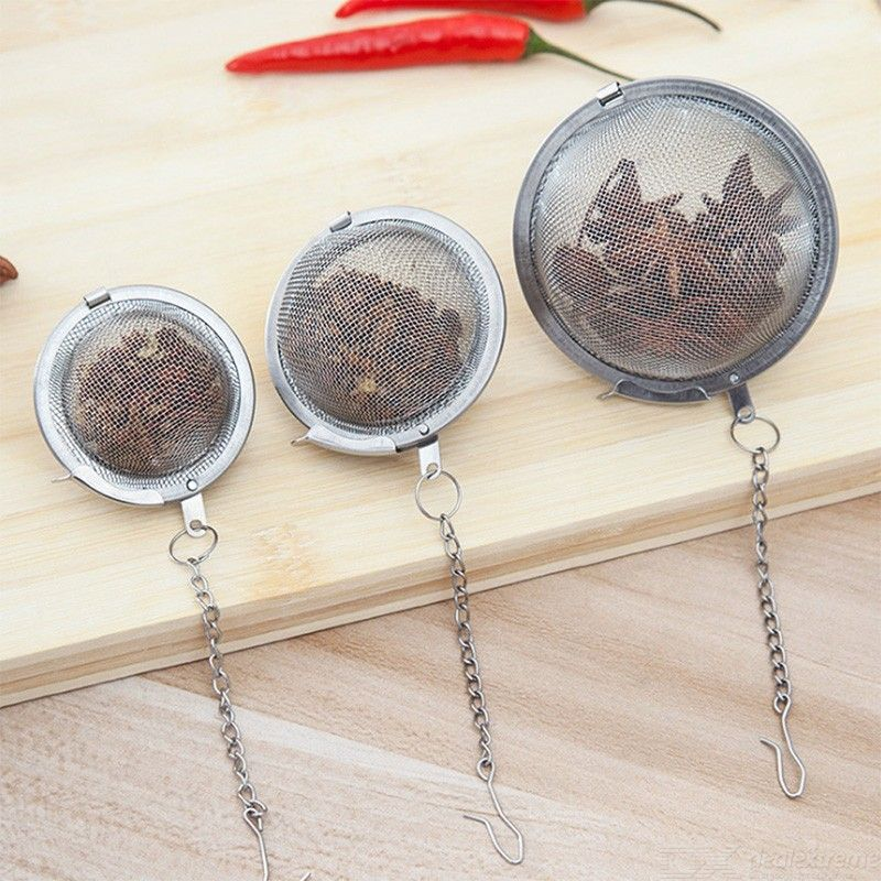 304 Stainless Steel Spice Ball With Chain Visible Soup Brine Filter Stew Seasoning Storage Box Kitchen Cooking Tool