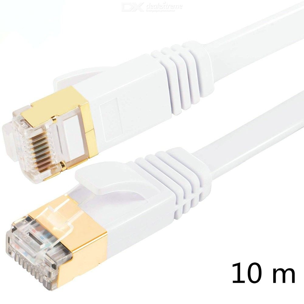 10m Cat7 Flat Ethernet Cable, 10 Gigabit High Speed Shielded (SSTP) Computer Network Cord with Gold Plated Rj45 Connector