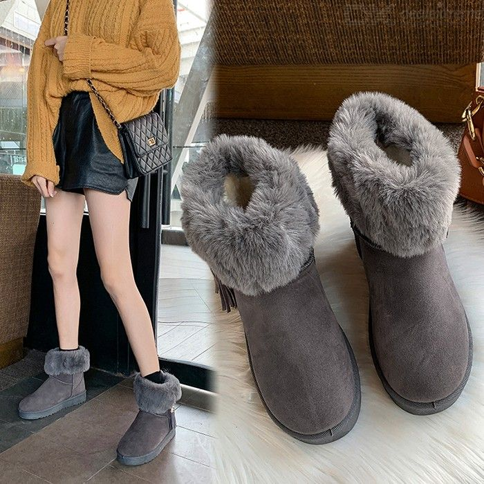 Womens Winter Snow Boots Flat Chunky Warm Faux Fur Short Boots Round Toe Shoes