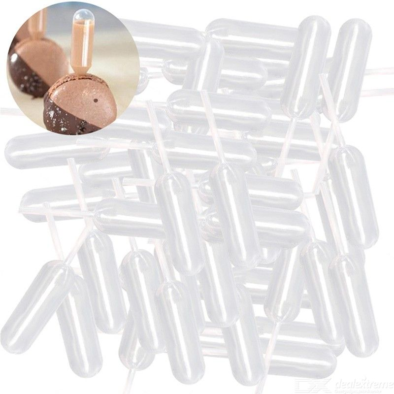 50pcs/set Plastic 4ML Cream Injection Tube Disposable Pipettes For Ice Cream Chocolate Squeezed Tool
