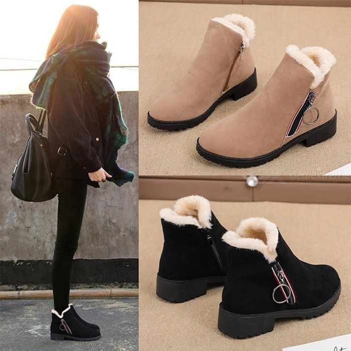 Womens Winter Warm Ankle Boots Casual Fashion Round Toe Snow Shoes