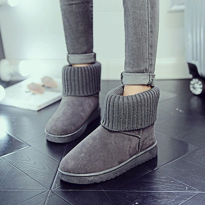 Womens Warm Snow Ankle Boots Comfortable Short Boots Winter Casual Flat Round Toe Shoes