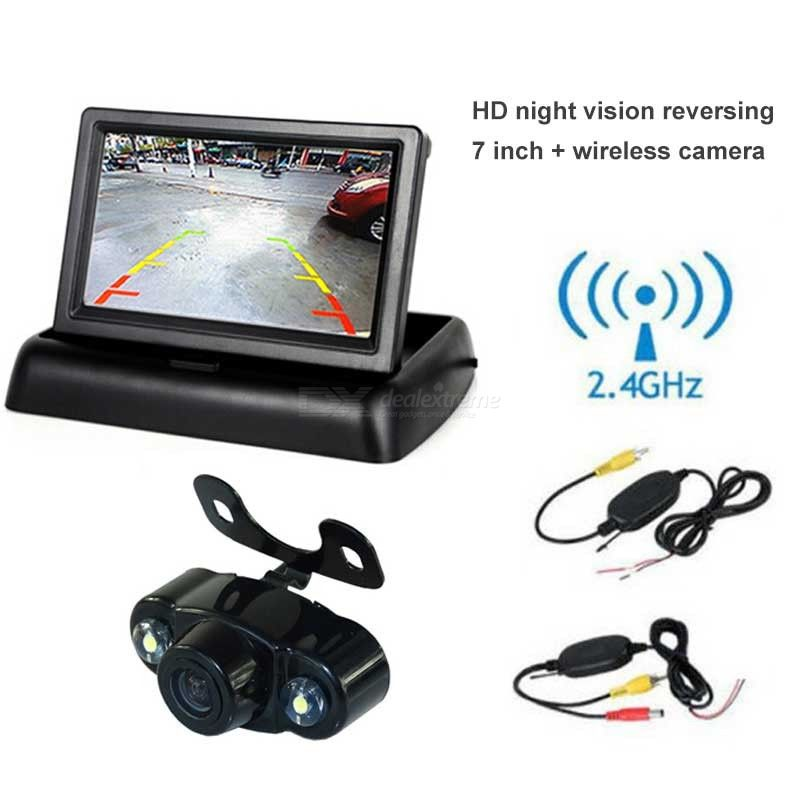 Universal Backup Camera For Car 4.3 Inch HD Monitor Car Wireless Transmitter Receiver Rearview Cam - Black