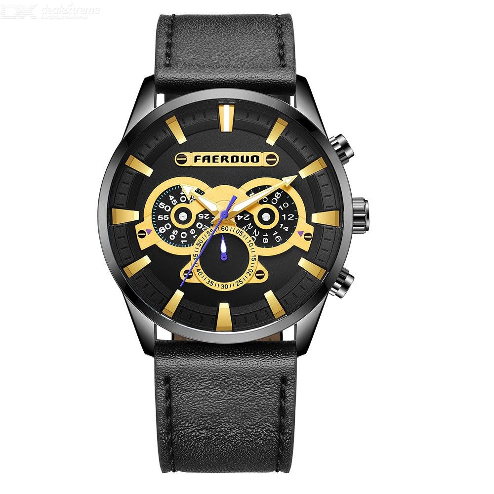 F8274 Fashion Men Quartz Watch With 3 Sub-dials, Multifunctional 3ATM Waterproof Leather Band Wristwatch