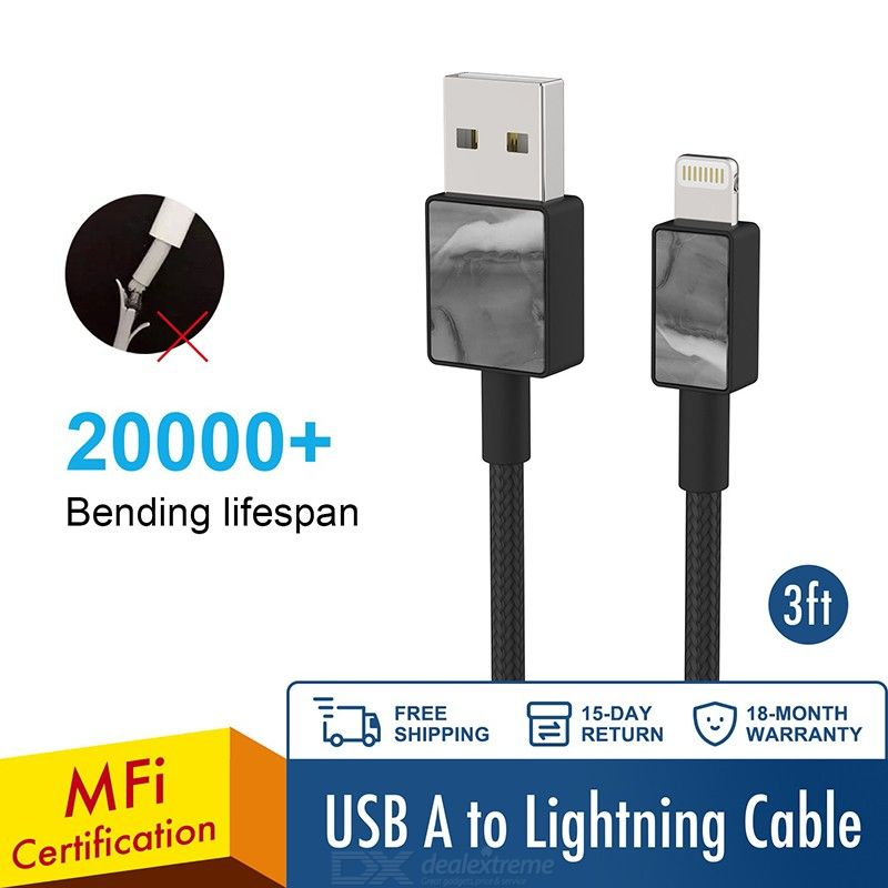 iFory MFI Lightning USB Cable 3ft 20000+ Bending Lifespan Fit for iPhone 11, 11 Max Pro, X, 8 Plus iPad iPod