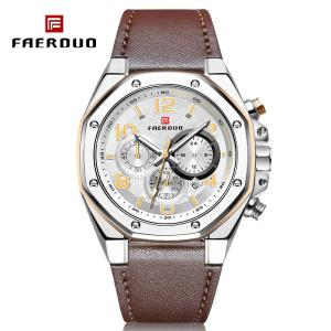 F8231 Multifunctional Men Quartz Watch With 3 Sub-dials, Waterproof Leather Strap Business Wristwatch With Calendar
