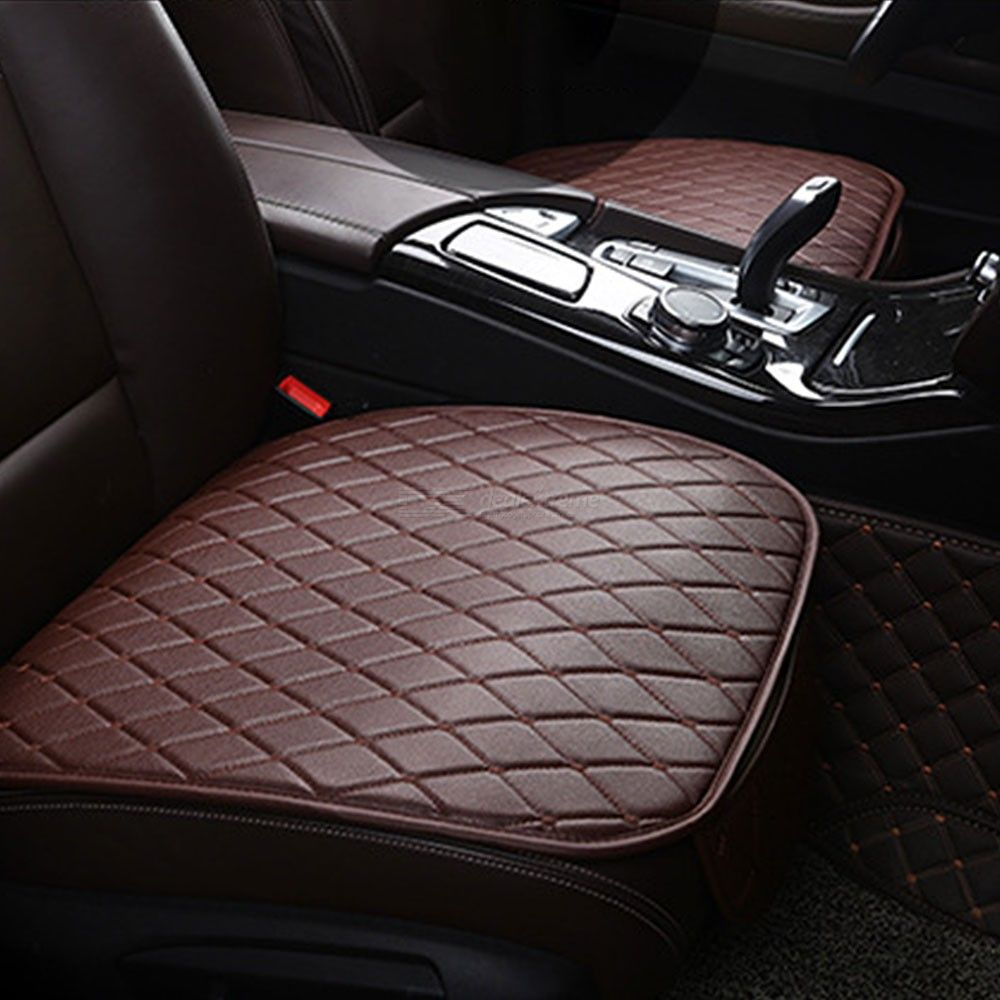 3-Piece Universal Leather Car Seat Covers, Front Rear Backseat Seat Cushion Cover Auto Chair Seat Protector Mat Pad