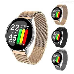 W8 Smart Sport Watch for Android IOS, Heart Rate Blood Pressure Monitor Bracelet Fitness Tracker - Steel Strap