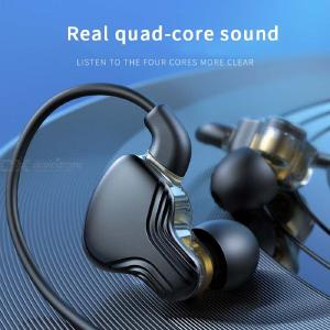 Dual Dynamic In-Ear Earphone 3.5mm Wired Ear-hook Type Noice Reduction Headset With Mic For Computer Mobile Phone Gaming