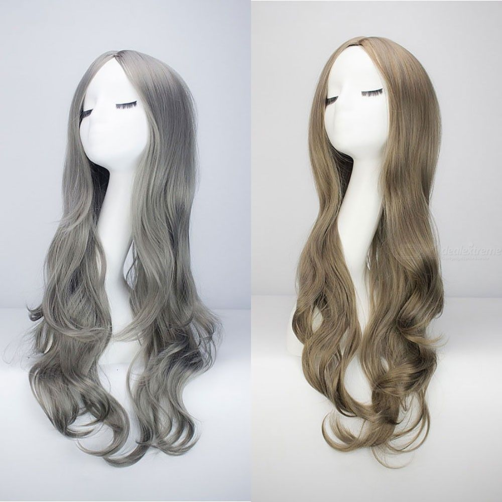 Womens Long Wavy Curly Wigs Middle Part Synthetic Heat Resistant Cosplay Wigs