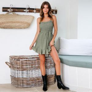 Casual Sleeveless Slash Neck A-Line Dress Solid Color Womens Clothing