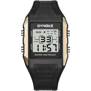SYNOKE 9037 Students Digital Watch, 30m Waterproof LED Luminous Sports Wrist Watch With PU Strap For Men
