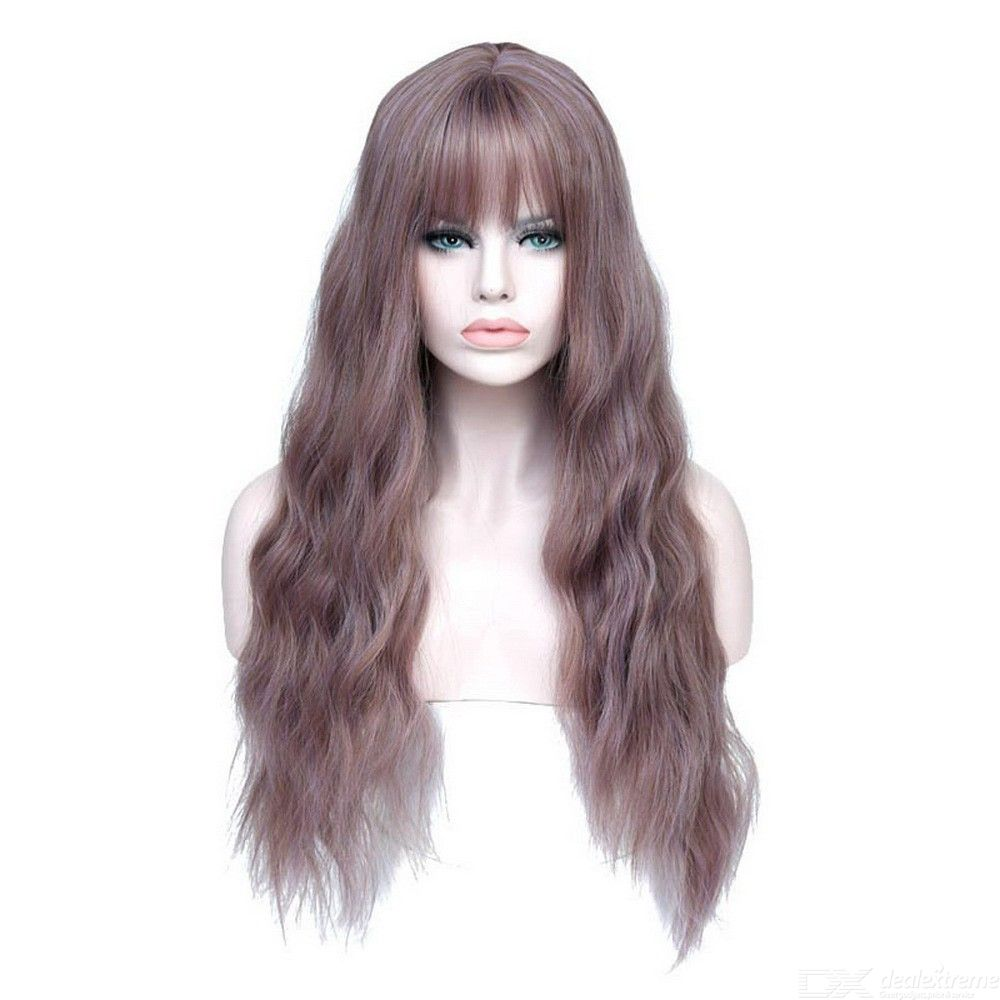 Womens Long Curly Wig Heat Resistant Synthetic Wigs With Air Bangs