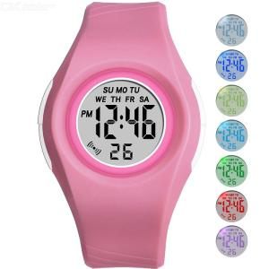 Kids Colored Digital Watch RGB Luminous Boys Girls Multifunctional Water Resistant Electronic Watch