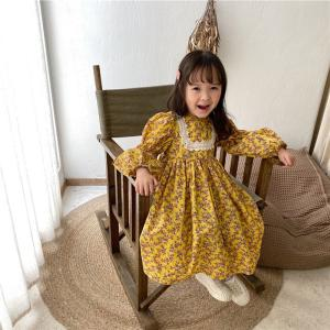 Long Sleeve Girl Flower Dress Casual Lace Princess Dress - Orange
