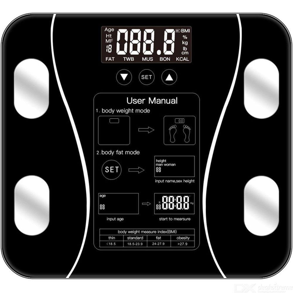 ShanYi Digital Body Weight Bathroom Scale Precision Weight Losing Schedule Measurement Device - Black
