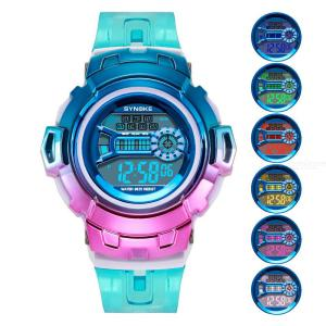 SYNOKE Fashion Men Women Watches Colorful Casual Transparent Sport Led Digital Clock Life Waterproof Wristwatch