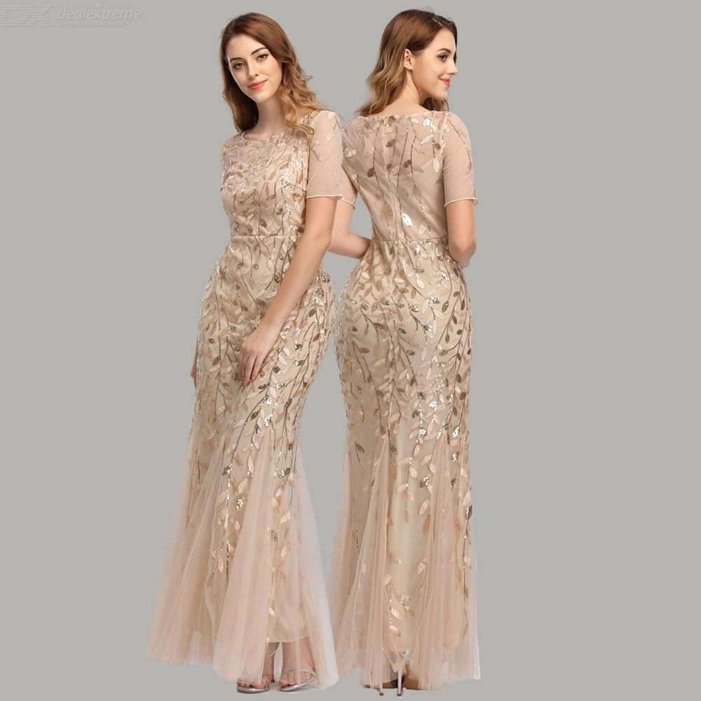 Womens Slim Mesh Evening Dress With Leaves Pattern For High-end Banquet Wine Party