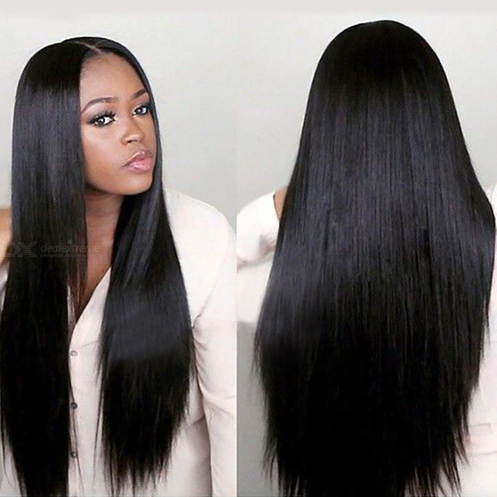 Womens Long Straight Wig Middle Part Heat Resistant Fiber Hair