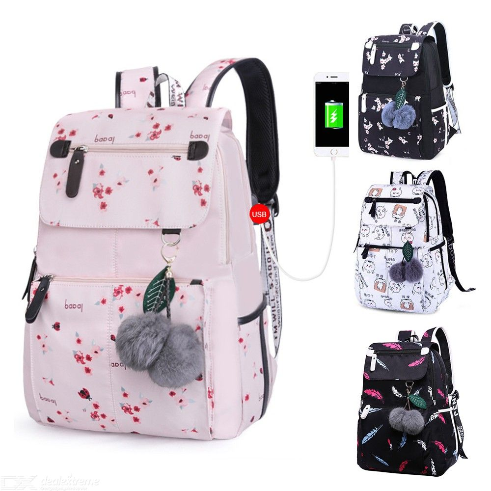 Laptop Backpack For Women Waterproof Print Pattern Daypack With USB Charging