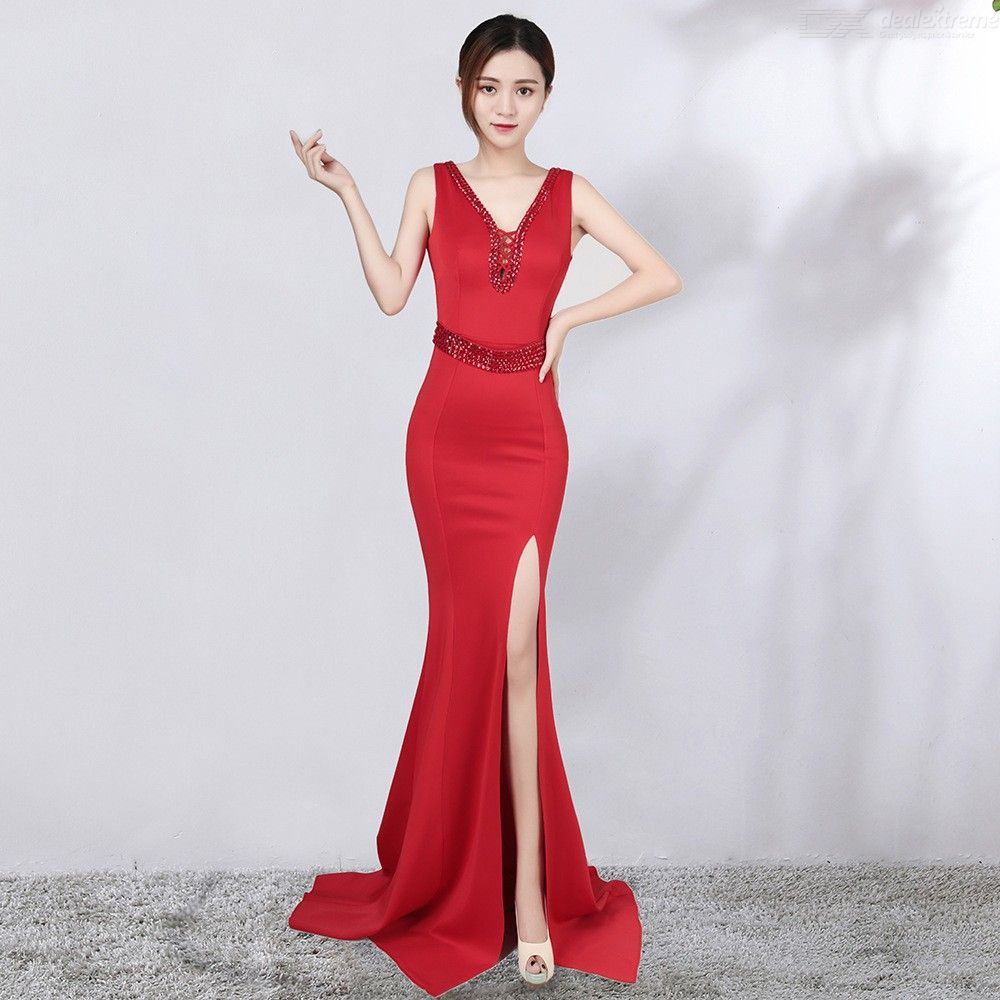 Hollow-Out V Neck Backless Slit Maxi Dress with Belt and Drill Decoration for Party