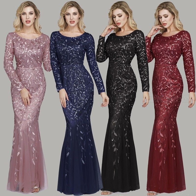 Womens Long Sleeve Solid Color Evening Dress For Banquet Wine Party