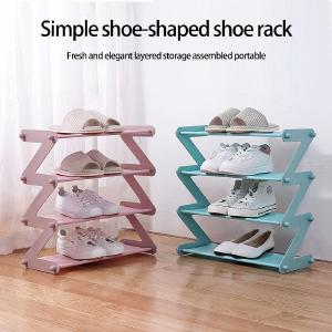 Home 4-tier Shoes Shelf For 8 Pairs Of Shoes Hard Plastic Metal Cloth Shoes Storage Rack Easy To Assemble