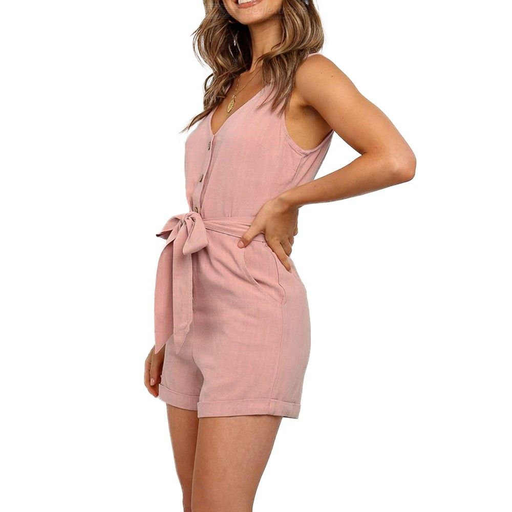 Casual Loose V-neck Sleeveless Jumpsuit with Waistband for Ladies