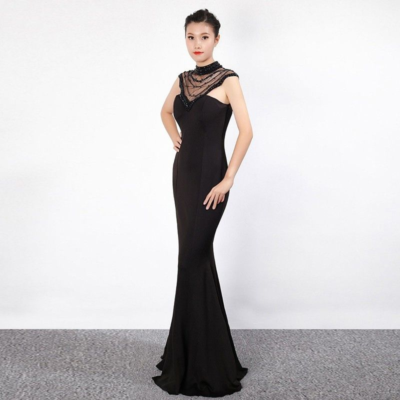 Slim Fit Low-Cut Deep V Neck Mesh See-Through Halter Mermaid Dress