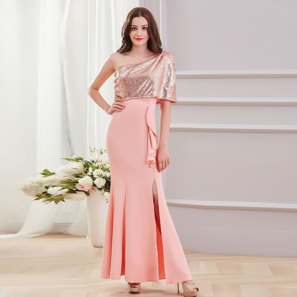 Elegant Shawl Oblique Shoulder Sequins Strapless Maxi Dress for Wedding Party