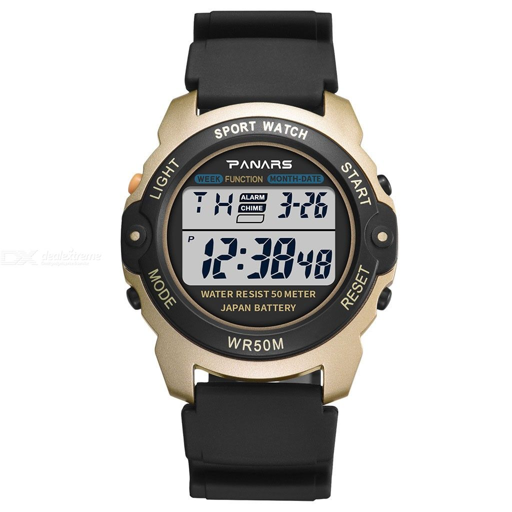 PANARS 8135 Multifunctional Digital Watch, 50m Waterproof LED Luminous Shockproof Sports Wristwatch For Men