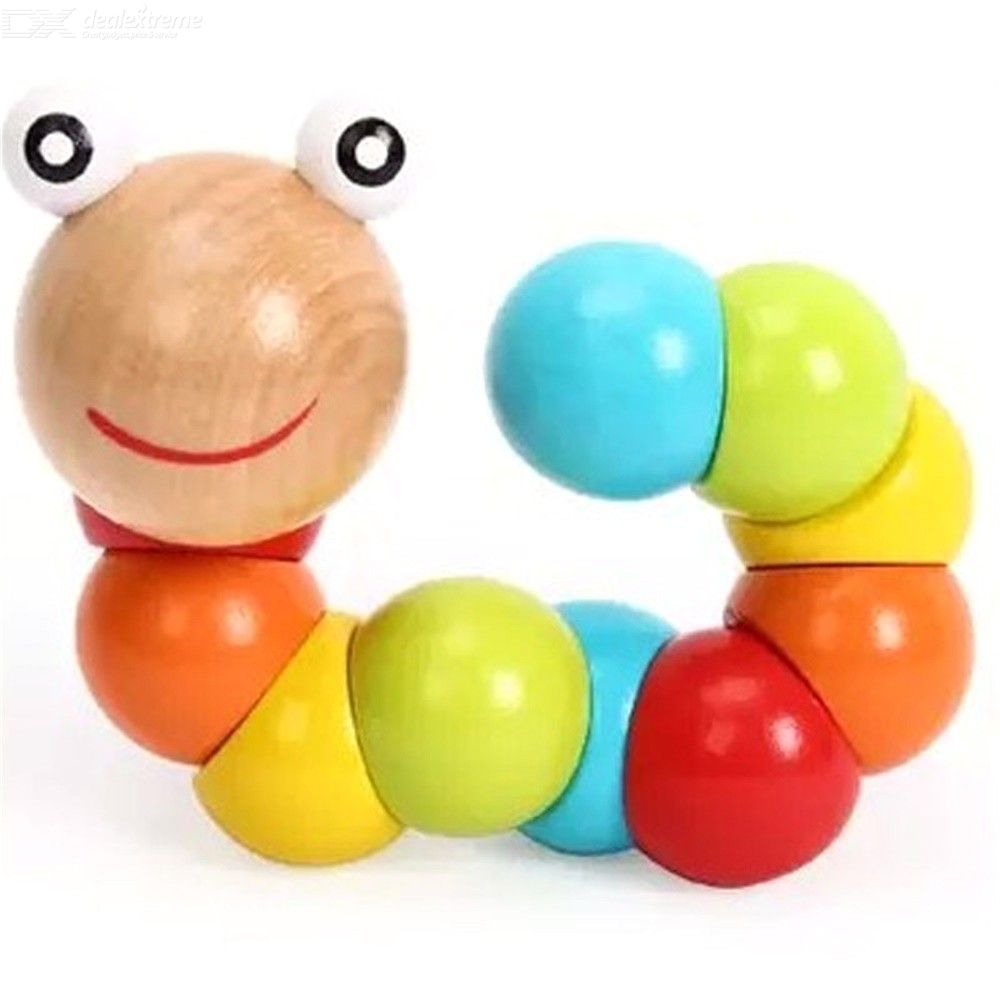 Educational Wooden Caterpillar Toy Childrens Hands-on Toys Baby Fingers Flexibility Training Twisting Worm Toy