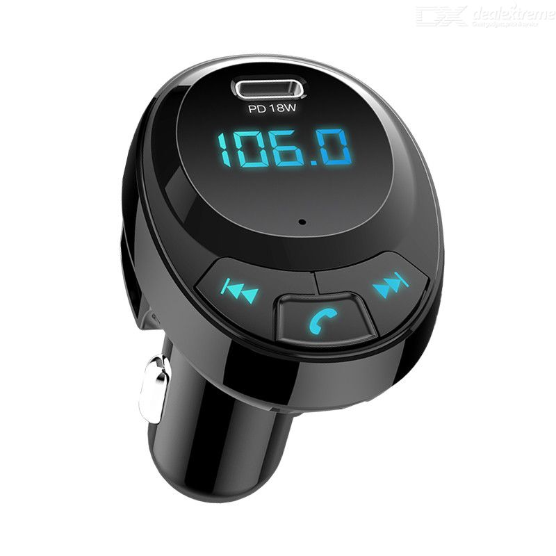 Car FM Transmitter Bluetooth 5.0 MP3 Player PD Fast Charger 2 USB Adapter