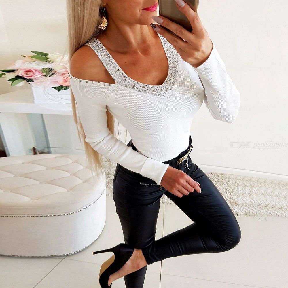 Women's T-shirt Slim-fit Sexy Off-The-Shoulder Scoop Neck Long Sleeve Top