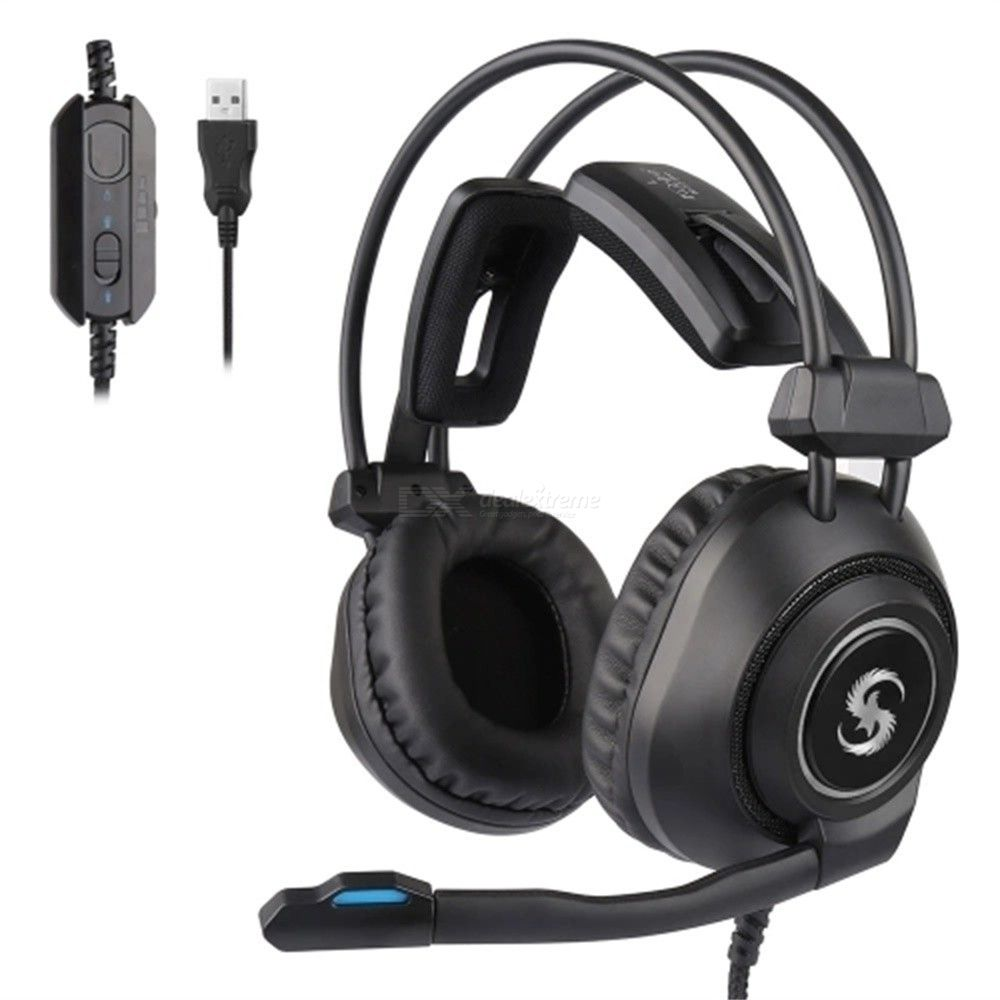 KUBITE Wired Gaming Headsets PC Computer USB Over-ear Headphone With Microphone K-17 Pro - Black